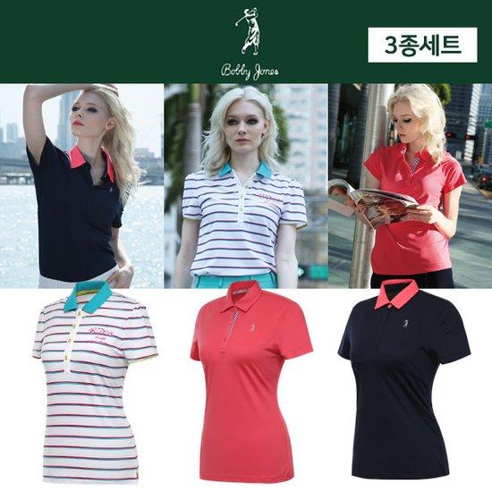 [바비존스] UV차단 여름용 여성 카라넥 반팔티셔츠 3종 세트/골프웨어_244991