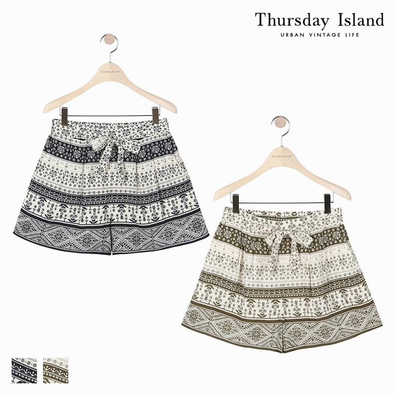 [Thursday Island]여성 전판 보더형 숏 팬츠T174MPT232W