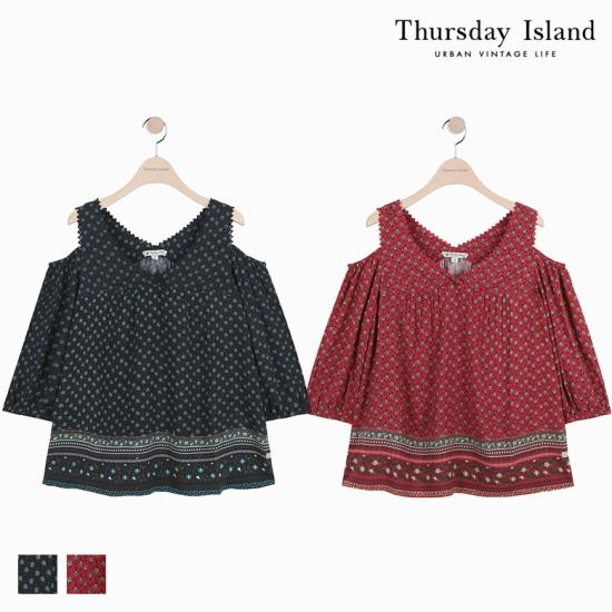 [Thursday Island]여성 전판 프린트 오프숄더 블라우스T174MBL252W