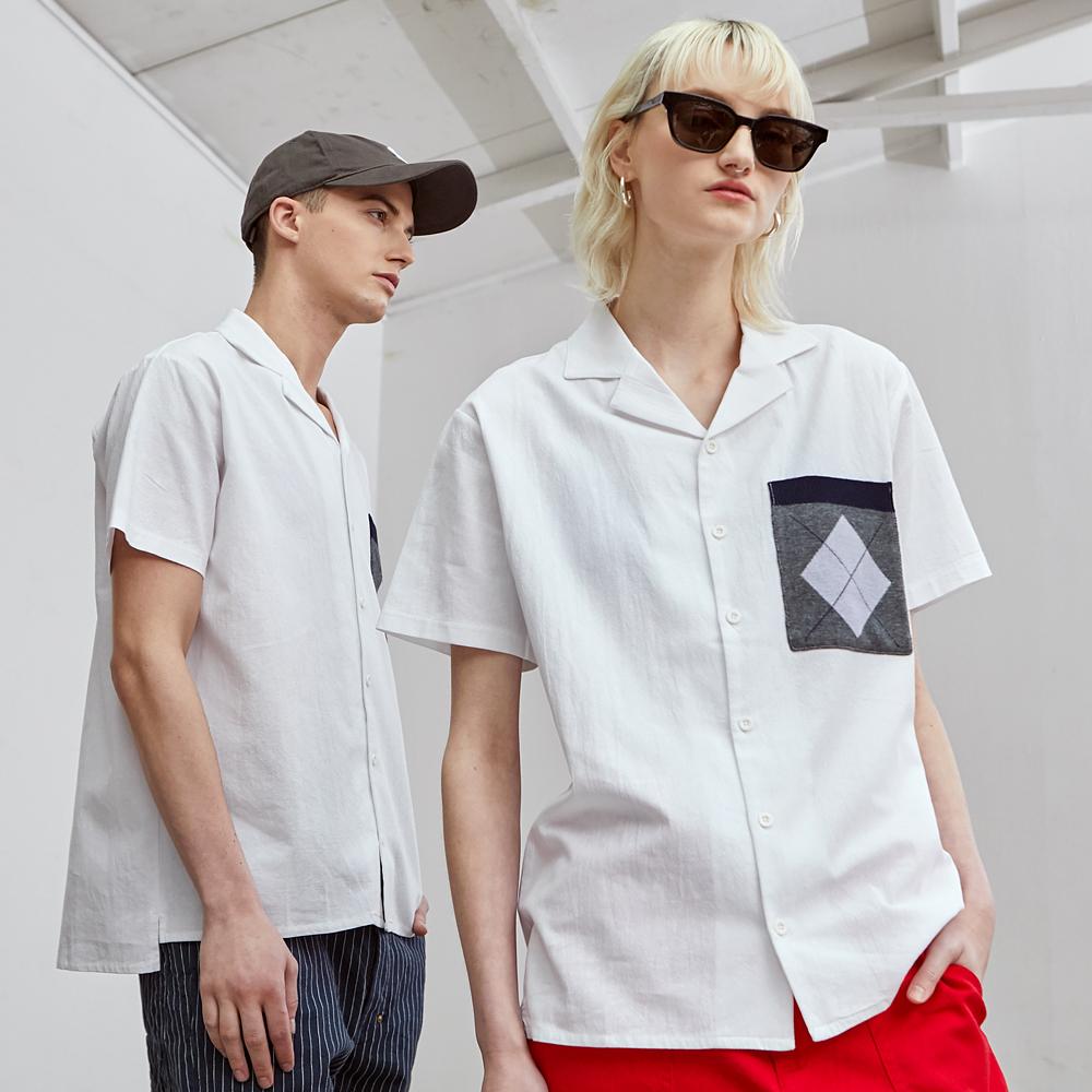 [제너럴아이디어19SS썸머]니트 포켓 셔츠 S9D04002WH