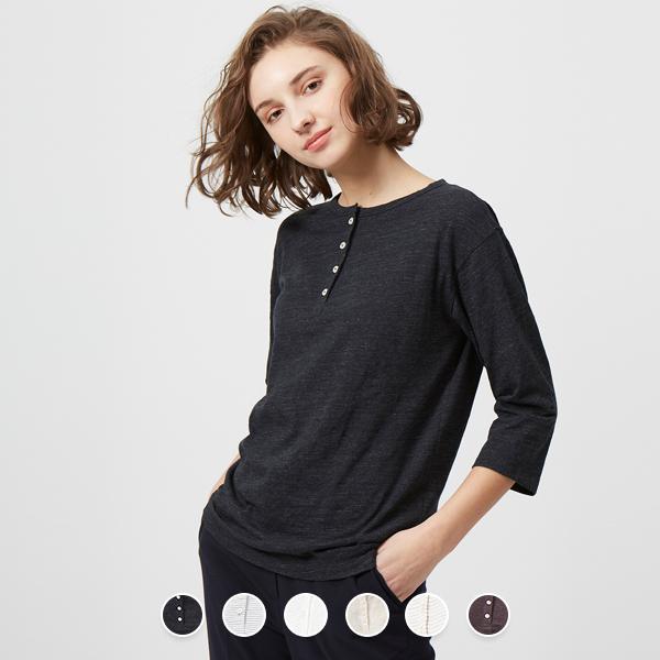 [지오다노] 329512 여 헨리넥 저지 티셔츠