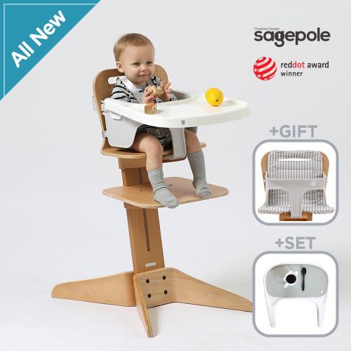 [세이지폴]아기식탁의자 3종세트 본체+트레이+논슬립매트 - 디자인선택