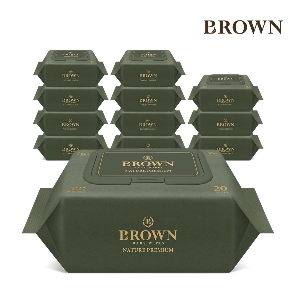 브라운 네이처 프리미엄  아기물티슈 20매 휴대 캡형 12팩