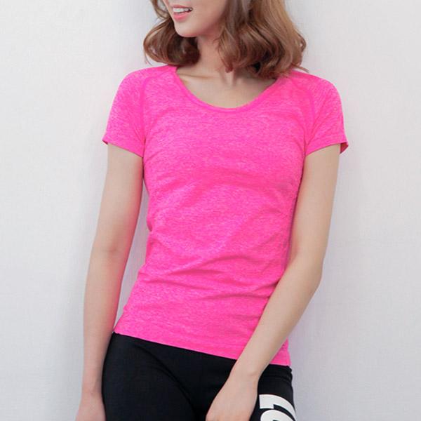 요가 피트니스 운동 상의 반팔 라운드넥 티셔츠_CY204