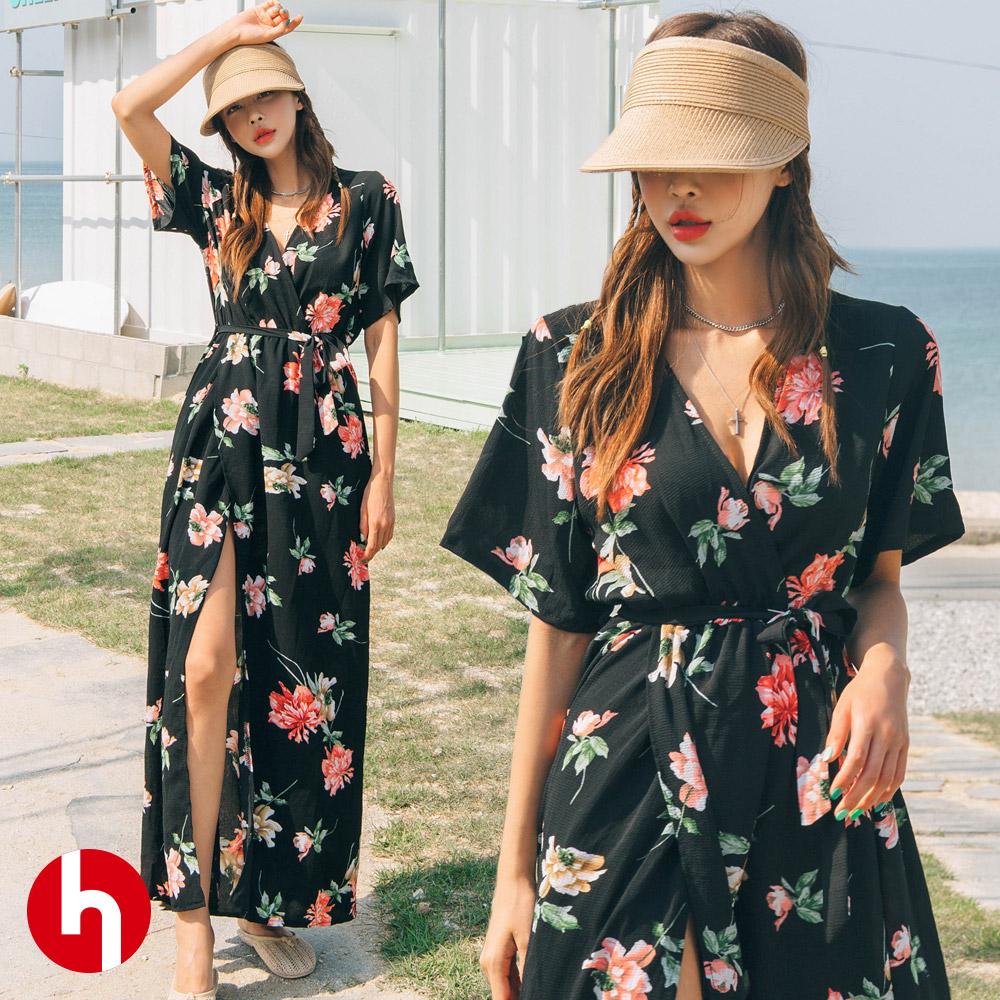 여름 비치원피스 롱 드레스 브이넥 랩 트임 플라워 휴양지 바캉스룩 HC418