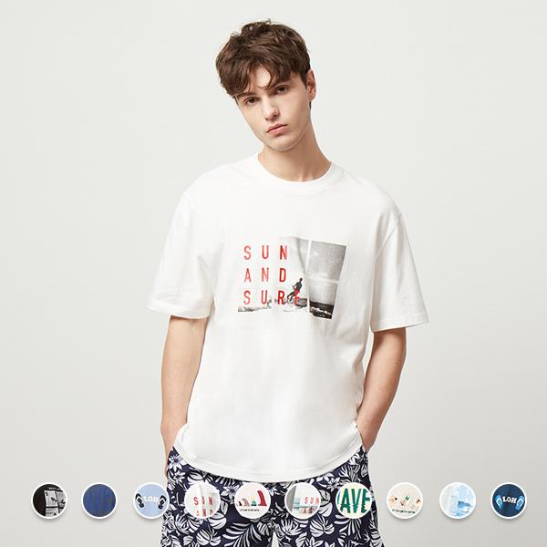 [지오다노] 099515 남 코튼 그래픽 반팔 티셔츠 20수