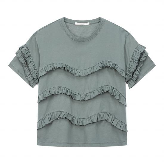 G-CUT  웨이브 프릴 장식 티셔츠