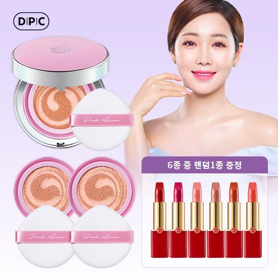 [DPC] 핑크아우라쿠션 라벤더 본품1 + 리필2 + 립6종중1종