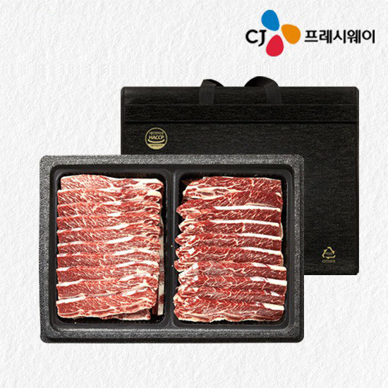 [오플]CJ프레시웨이 LA갈비 추석선물세트 3.2kg 미국산 초이스