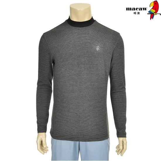 마코 남성 스트라이프 하이넥 배색 티셔츠 4MG4M3TH70_17