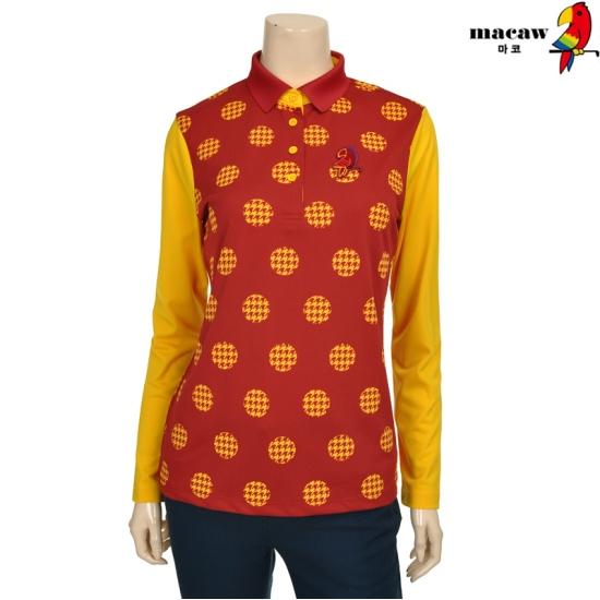 마코 여성 배색 슬리브 라운드 패턴 피케 티셔츠 4MGW3TS04_36