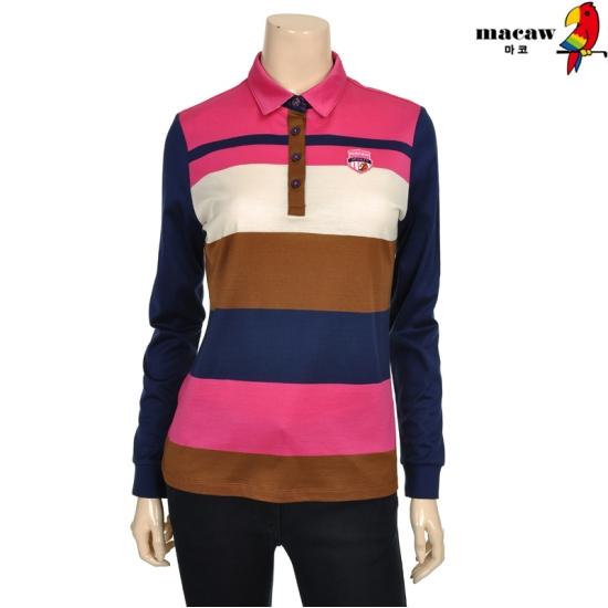 마코 여성 4컬러 스트라이프 피케 티셔츠 4MGW3TS50_44