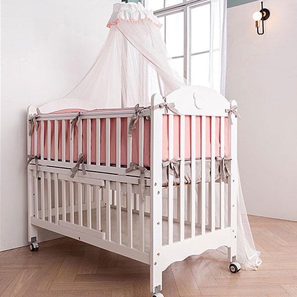 쁘띠라뺑 뉴 에코베어 아기침대 화이트+뉴토이 범퍼세트 패키지/범퍼침구+캐노피