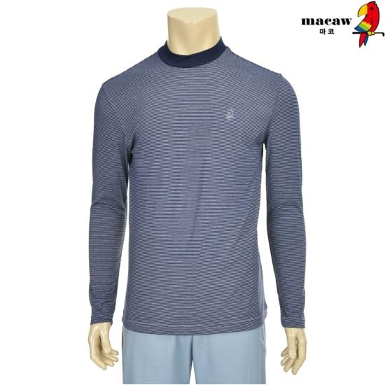 마코 남성 스트라이프 하이넥 배색 티셔츠 4MG4M3TH70_68
