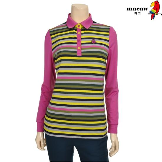 마코 여성 다색 스트라이프 피케 티셔츠 4MGW3TS71_71