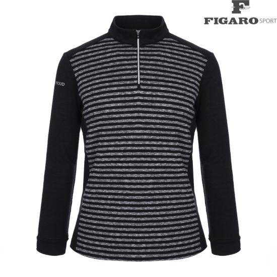 피가로스포츠 남성 스트라이프 집업 티셔츠 4F8WTS029M_BK