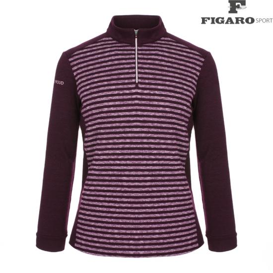 피가로스포츠 남성 스트라이프 집업 티셔츠 4F8WTS029M_WI
