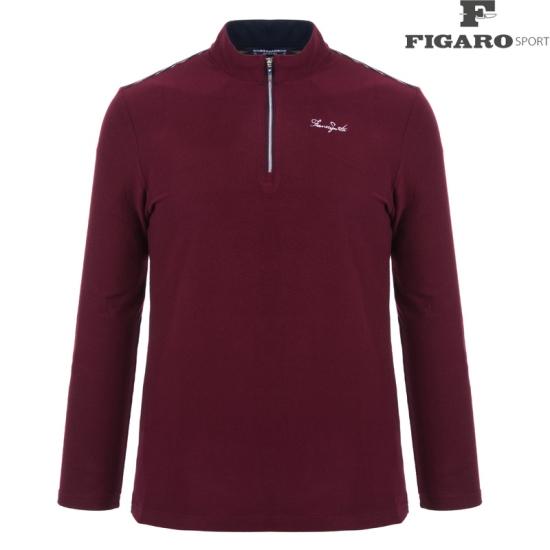 피가로스포츠 남성 변형 스트라이프 집업 티셔츠 4F8WTS037M_WI
