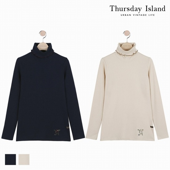 Thursday Island 여성 네크 배색 인타 하이넥 티셔츠T176MTS135W