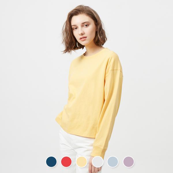 [지오다노] 329510 롱슬리브 크롭 티셔츠