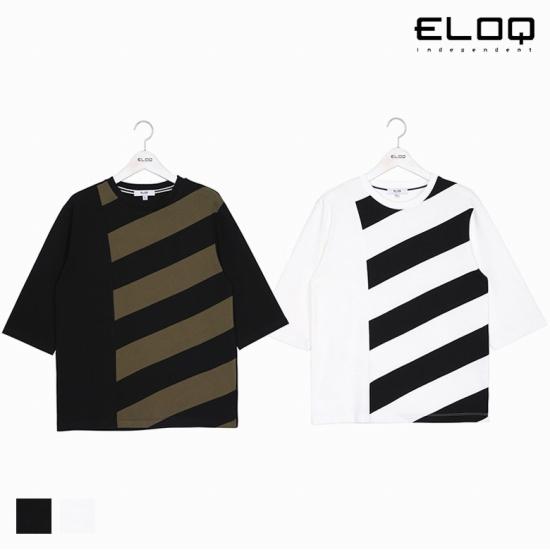 ELOQ 남성 레귤러핏 스트라이프 변형 티셔츠B176MTS121M