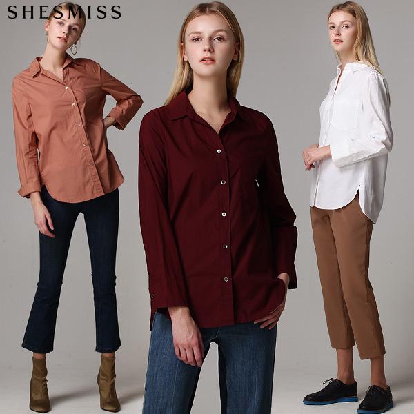 [쉬즈미스] 세미 베이직 버튼다운 코튼 셔츠