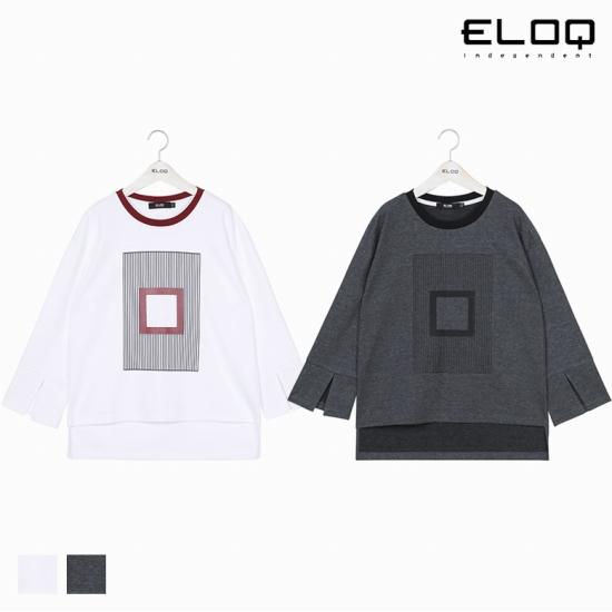 ELOQ 여성 루즈핏 사각 프레임 티셔츠B176MTS152W
