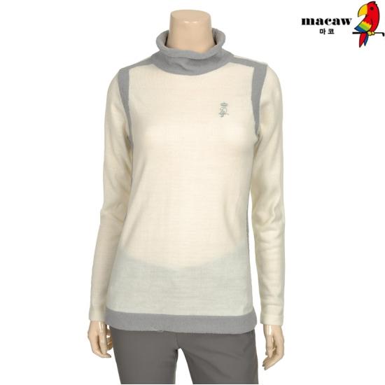 마코 여성 배색 반폴라 니트 4MGW3SW90_12