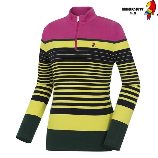 마코 여성 캐주얼 스트라이프 반집업 티셔츠 4MGW3TH50_71