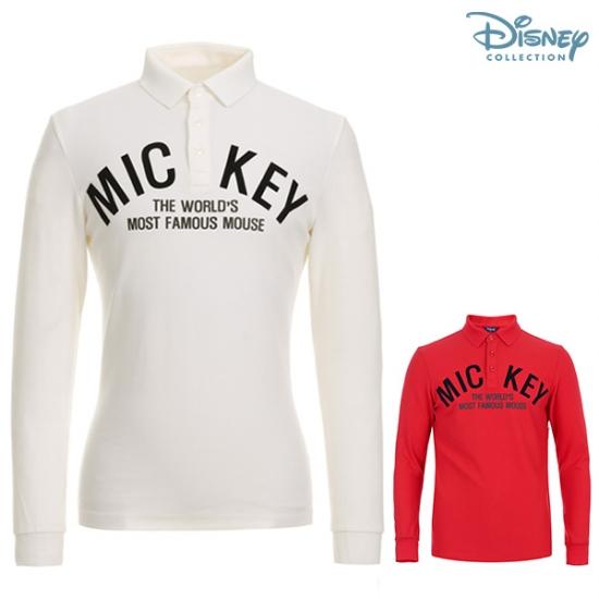 디즈니골프Disney Golf  남성 벨벳 미키 프린팅 피케 티셔츠 DG3MTS011