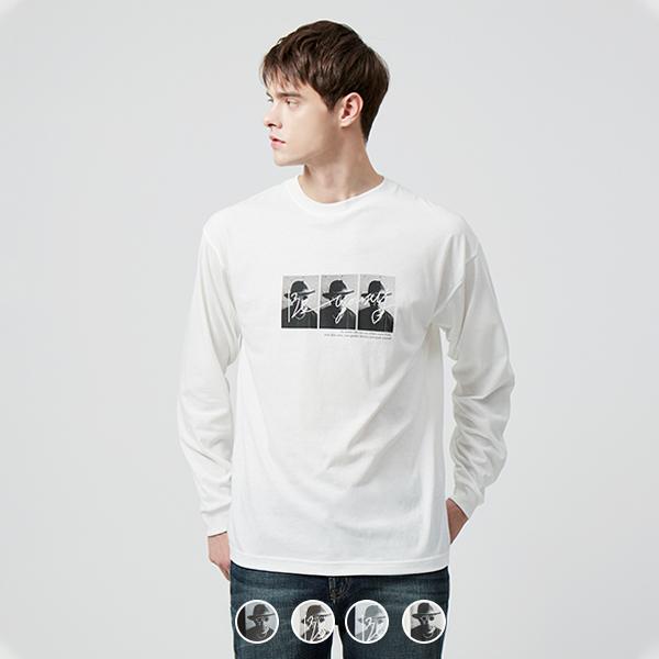 [지오다노] 099902 포토 프린트 긴팔 티셔츠30수