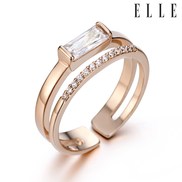 [엘르주얼리] 심플 사각 반지 ELBRWR052