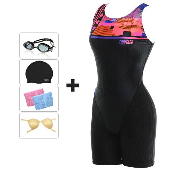 토네이도 여성수영복 아쿠아로빅 3부 에버 PQ3491 BKPK+4종
