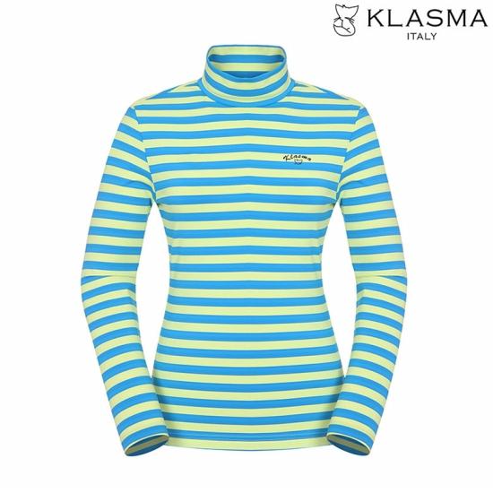 KLASMA 여성 스트라이프 반목 티셔츠K73ATSW210-BL