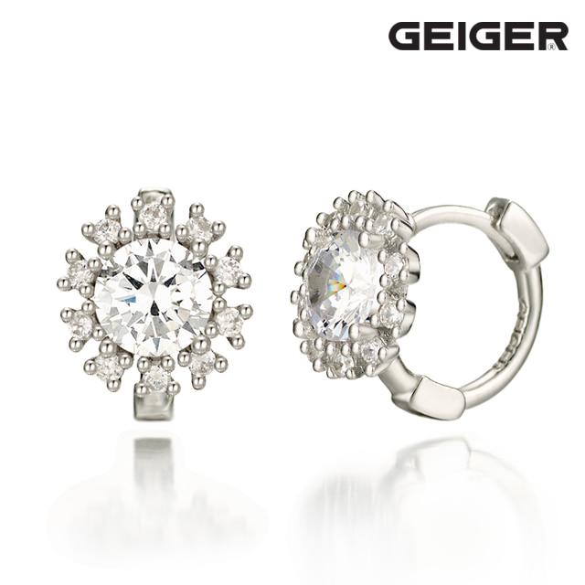[가이거] 꽃 원터치 실버 귀걸이 GISVEE024