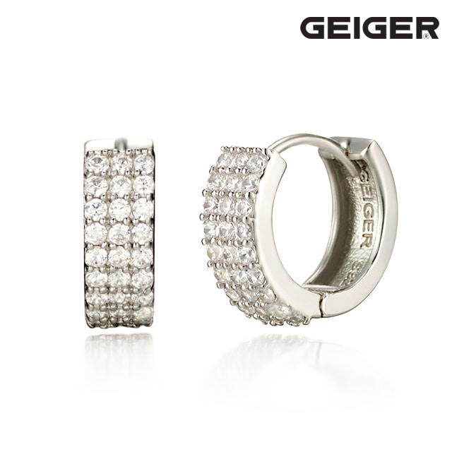 [가이거] 큐빅 원터치 실버 귀걸이 GISVEE020
