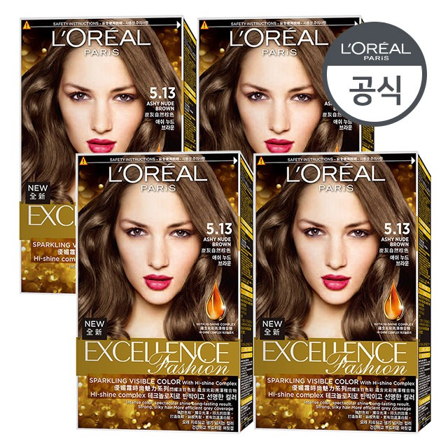 [로레알파리]엑셀랑스 패션 염모제 4개 세트 [증정]염색키트, TR5샴푸170ml 1개
