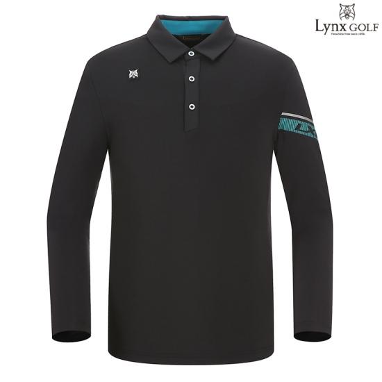 링스골프  남성 소매 배색라인 카라티셔츠 L1183TO016_BK