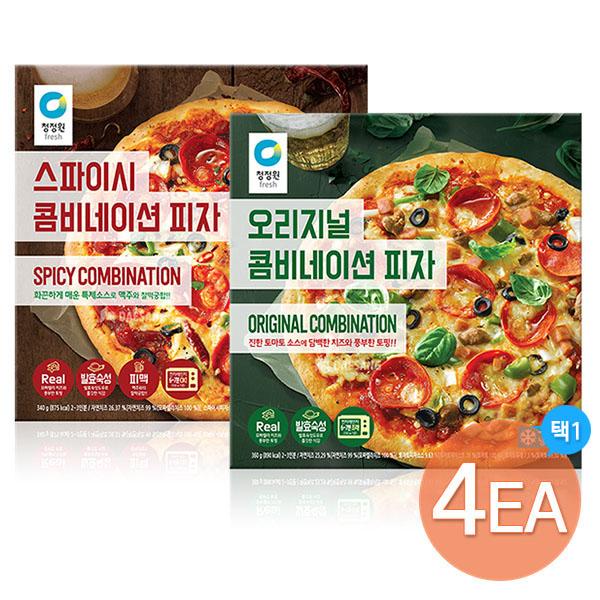 청정원 콤비네이션 피자 2종 오리지널/스파이시 x 4판