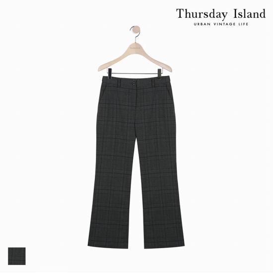 Thursday Island 여성 체크 패턴 부츠컷 슬랙스 팬츠T178MPT237W