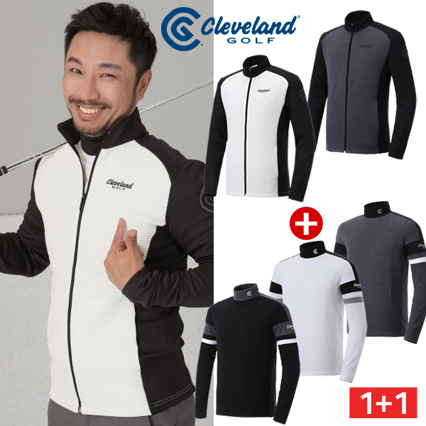 심짱코디 [클리브랜드골프] 남성 컬러블록 기모 긴팔티셔츠 + 써모그램 바람막이 자켓/골프웨어