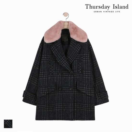 Thursday Island 여성 코쿤 스타일 빅체크 자켓형 코트T178MCT238W