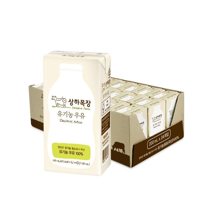 [오플]상하목장 유기농 우유 200ml 24팩 3박스 총72팩