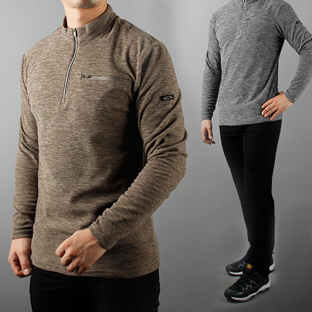 남자 히트 지퍼 집업 무지 기모 티셔츠