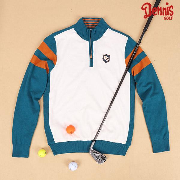 데니스골프터틀넥 배색 반 집업 골프 니트 티셔츠 N17WMSP925