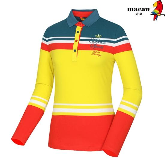 마코  여성 변형 스트라이프 카라 티셔츠 4MGW4TS02_25