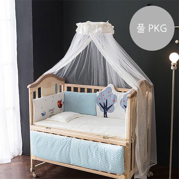 [쁘띠라뺑]도모 아기침대 풀 PKG 버드트리/범퍼침구+토퍼+베개+캐노피+보조선반+매트리스
