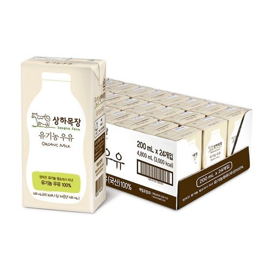 [오플]상하목장 유기농 우유 200ml 24팩 2박스 총48팩_무배