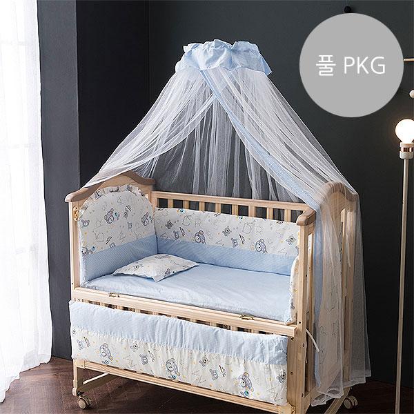 [쁘띠라뺑]도모 아기침대 풀 PKG 비베어/범퍼침구+토퍼+베개+캐노피+보조선반+매트리스