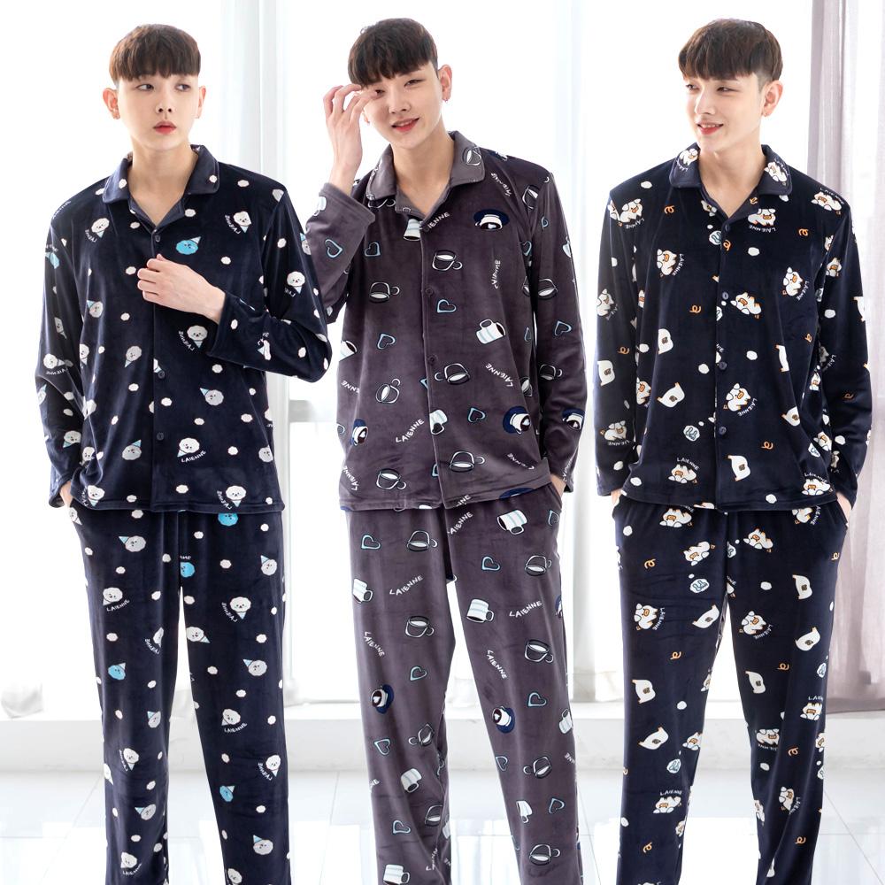 [민트코코아] 최고급 밍크 겨울 남성 수면잠옷세트 택1